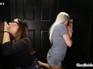 Зрелые и молодые барышни сосут пенисы через порно стену