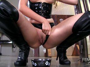 Строгая госпожа держит раба как животное в клетке и издевается над ним