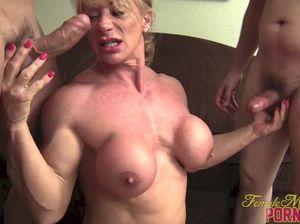 Мускулистая жена наказывает мужа и изменяет ему с его друзьями