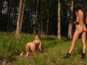 Худышка садится вагиной на лицо подруги в лесу и жестко дрочит ее дырку