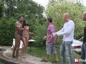 На пикнике мужики толпой раздирают дырки безотказной потаскухе
