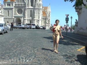 Туристка в неподобающем виде осматривает достопримечательности Будапешта