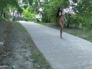 Брюнетка прошлась голышом по оживленной улице