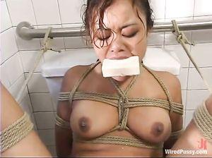Домина унижает лесбиянку и жарит ее секс машиной на унитазе