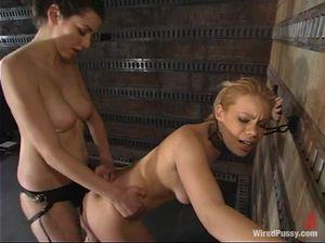 Брюнетка лесбиянка страпонит девушку и доводит ее до оргазма