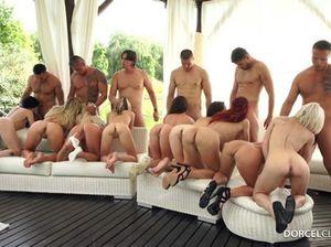 Масштабный групповой секс толпой на заднем дворе богатого особняка