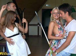 Юные курские студенты и студентки красиво трахаются на вечеринке