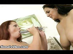 Толстые лесбиянки в чулках трахаются двусторонним дилдо